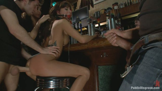Gia Dimarco, James Deen Public Disgrace: Gia DiMarco Gets Double Penetrated At A Public Bar
