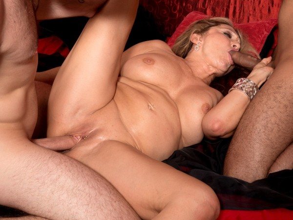 Luna Azul in Two young, hard cocks for 63-year-old Luna Azul