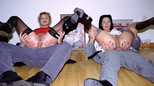 Mimi, Sandra in Mimi and Sandra Take on Four Horny Men in an Art Gallery