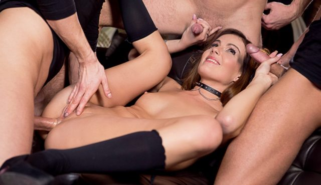 Samantha Joons in Barmaid Samantha Joons Gets a Birthday Four-way and a Face Full of Cum